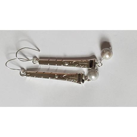 Sterling silver earrings with bluish Pearls, Bijuterii de argint lucrate manual, handmade