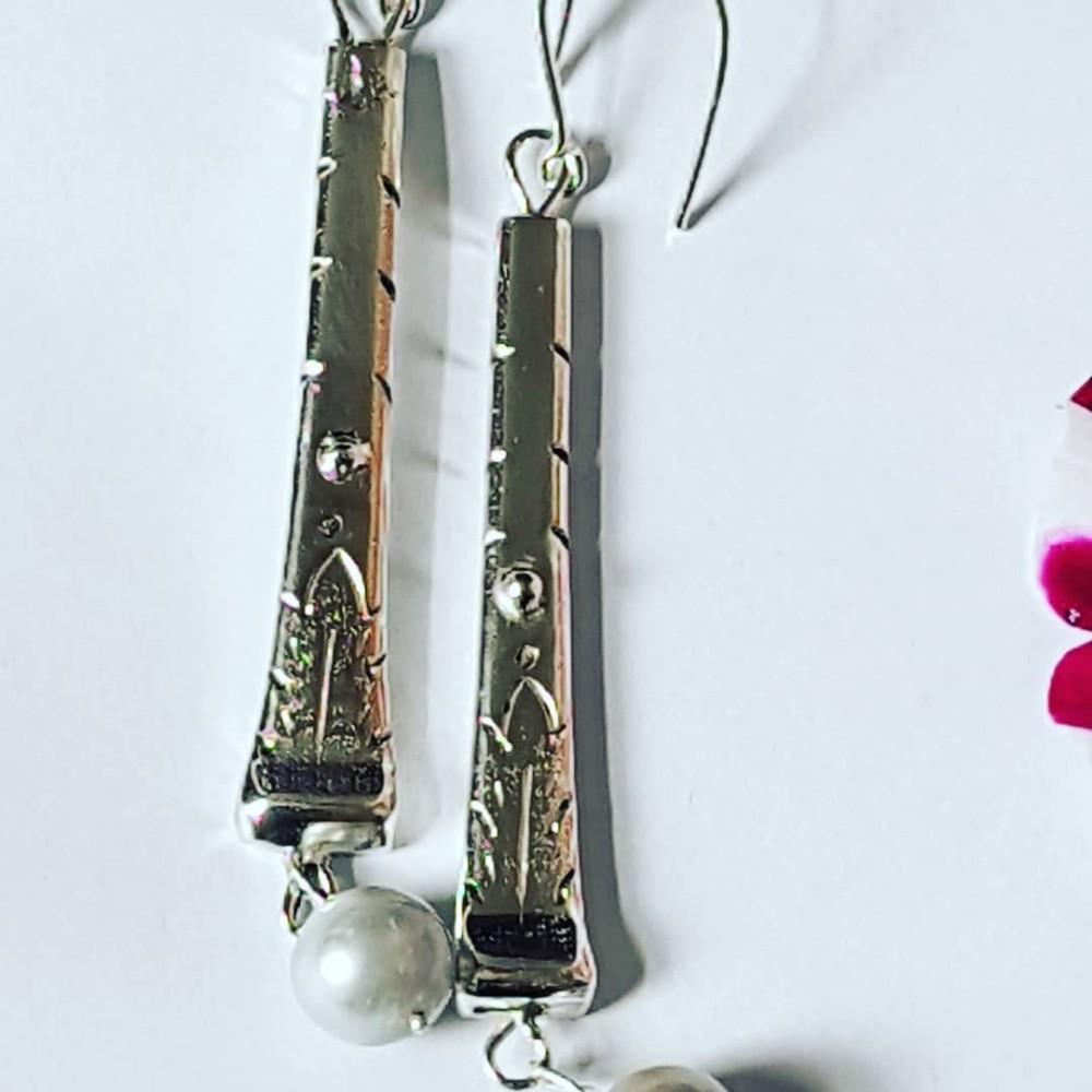 Sterling silver earrings with bluish Pearls