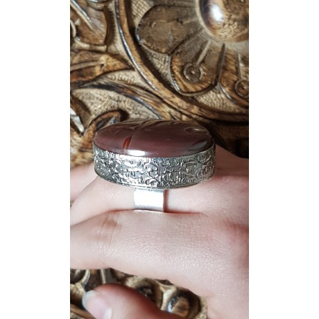 Large Sterling Silver ring with natural Jaspers Love Currency, Bijuterii de argint lucrate manual, handmade
