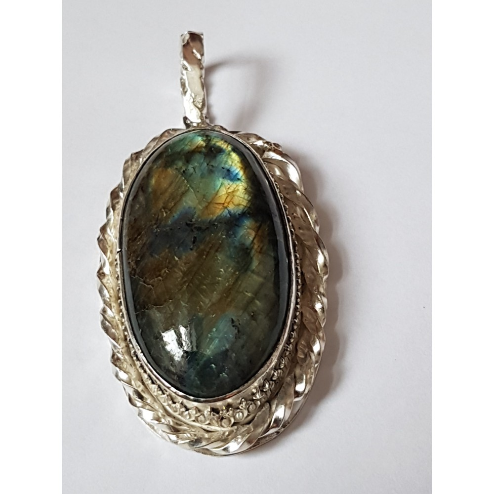 Large Sterling Silver pendant with natural labradorite stone Myriad Scintillation