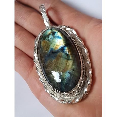Large Sterling Silver pendant with natural labradorite stone Myriad Scintillation, Bijuterii de argint lucrate manual, handmade