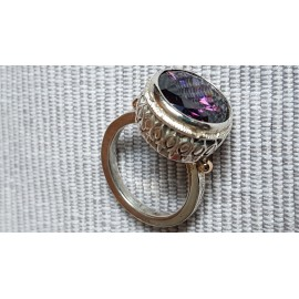 Sterling silver ring with 14k gold and Amethyst Love Lyrics