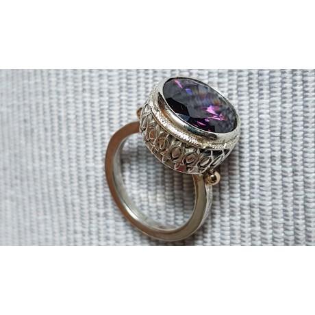 Sterling silver ring with 14k gold and Amethyst Love Lyrics, Bijuterii de argint lucrate manual, handmade