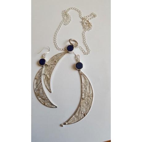 Sterling silver necklace featuring silver filigree Moon Crescent Ablaze, Bijuterii de argint lucrate manual, handmade