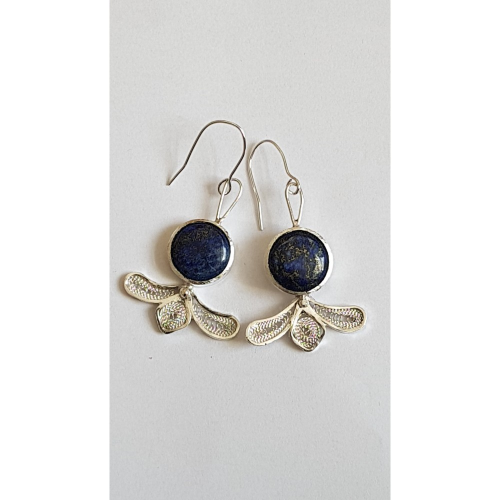 Sterling silver earrings with pure silver filigree and natural lapislazuli Laces & Mazes