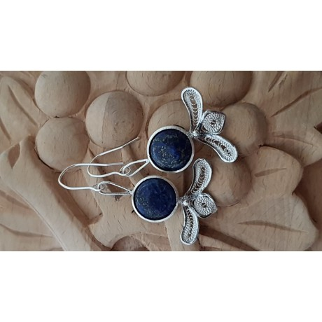 Sterling silver earrings with pure silver filigree and natural lapislazuli Laces & Mazes, Bijuterii de argint lucrate manual, handmade