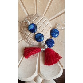 Sterling silver earrings with natural stones Red& Blue, Bijuterii de argint lucrate manual, handmade