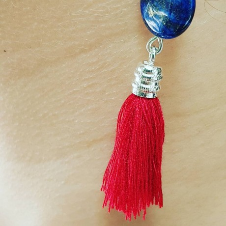 Sterling silver earrings with natural stones Red& Blue, Bijuterii de argint lucrate manual, handmade