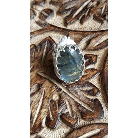 Sterling silver ring with natural labradorite stone Preen, Bijuterii de argint lucrate manual, handmade