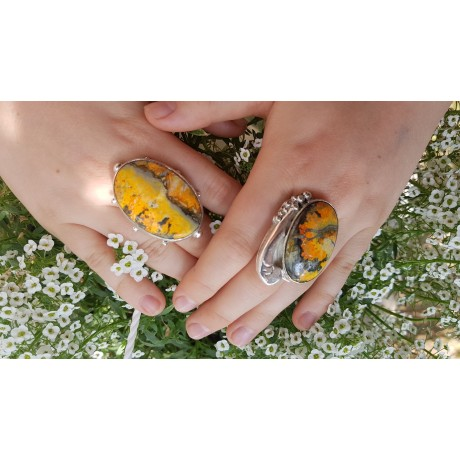Massive Sterling silver ring with natural jasper stone, Bijuterii de argint lucrate manual, handmade