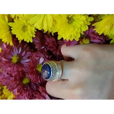 Sterling silver ring with natural lapislazuli Blue Bumps, Bijuterii de argint lucrate manual, handmade