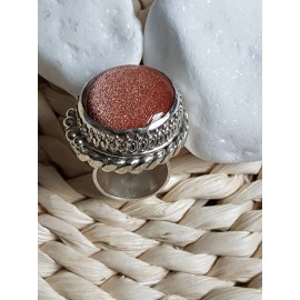 Large Sterling Silver ring with natural sunstone, Sun Spree