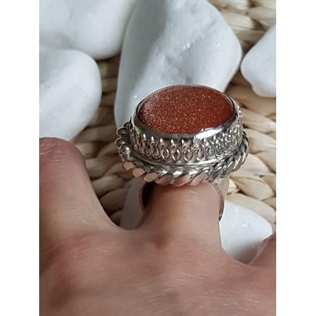Large Sterling Silver ring with natural sunstone, Sun Spree, Bijuterii de argint lucrate manual, handmade