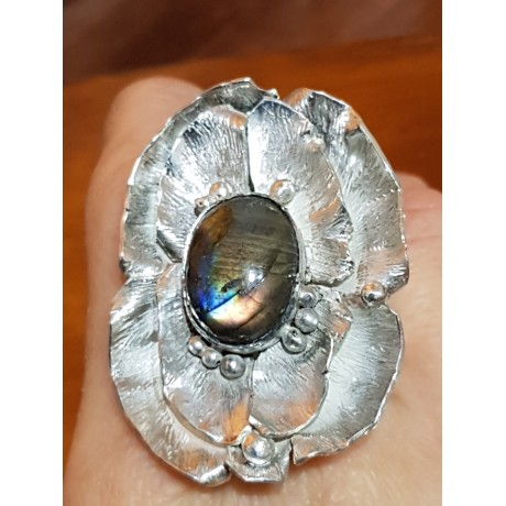 Large Sterling Silver ring with natural labradorite stone Flower Prime , Bijuterii de argint lucrate manual, handmade