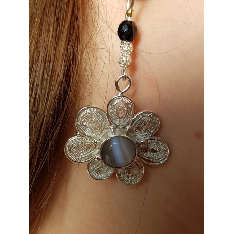 Sterling and pure filigree silver handmade earrings, Bijuterii de argint lucrate manual, handmade