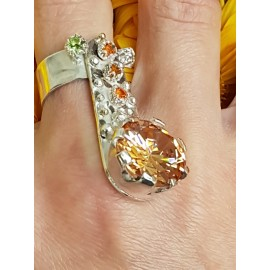 Sterling silver ring with natural citrine stones