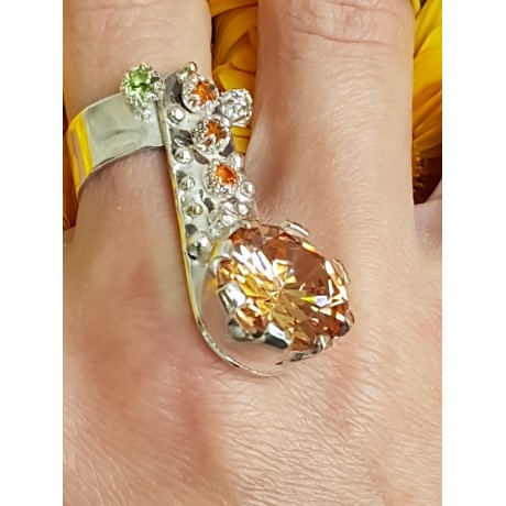 Sterling silver ring with natural citrine stones , Bijuterii de argint lucrate manual, handmade