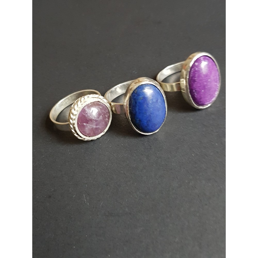 Sterling silver rings with natural jade and Lapislazuli