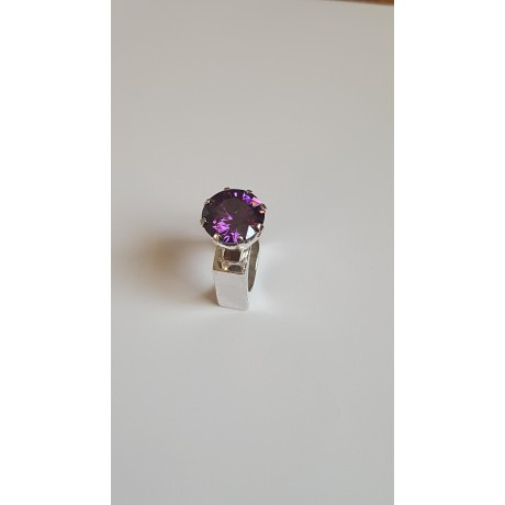 Sterling silver ring with amethyst Marquise, Bijuterii de argint lucrate manual, handmade