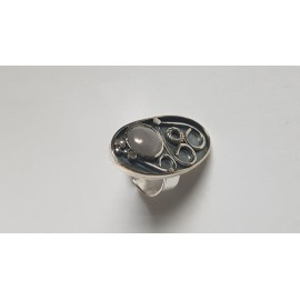 Sterling silver ring with natural cat's eye Ovalish, Bijuterii de argint lucrate manual, handmade