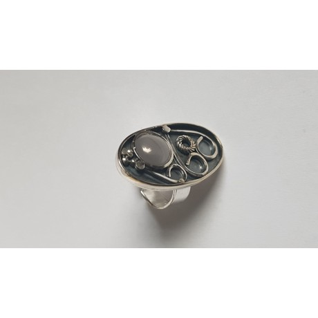 Sterling silver ring with natural cat's eye Ovalish, Bijuterii de argint lucrate manual, handmade