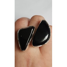 Sterling silver ring with natural onyx stone Black Match