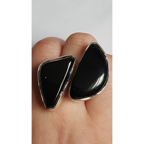 Sterling silver ring with natural onyx stone Black Match, Bijuterii de argint lucrate manual, handmade