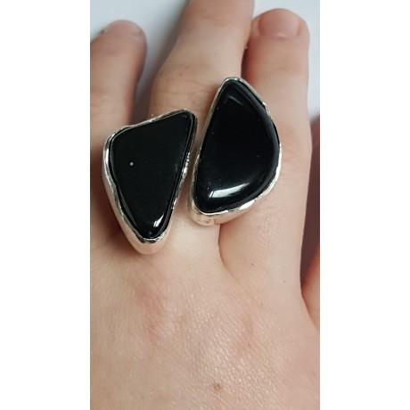 Sterling silver ring with natural onyx stone Black Match, Bijuterii de argint lucrate manual, handmade