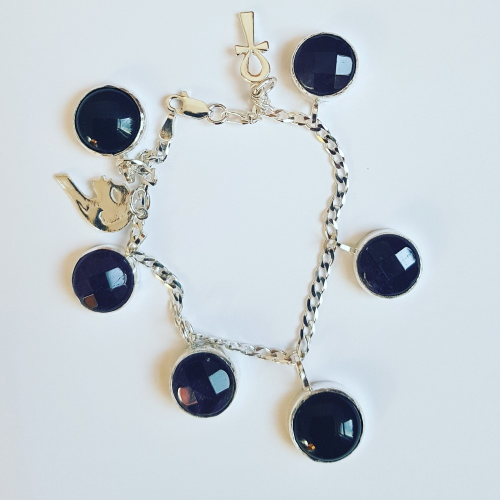 Sterling silver bracelet with amethyst & onyx Rows of Glow