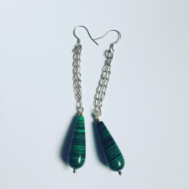 Sterling silver earrings with natural malachite stones GreenSaint, Bijuterii de argint lucrate manual, handmade