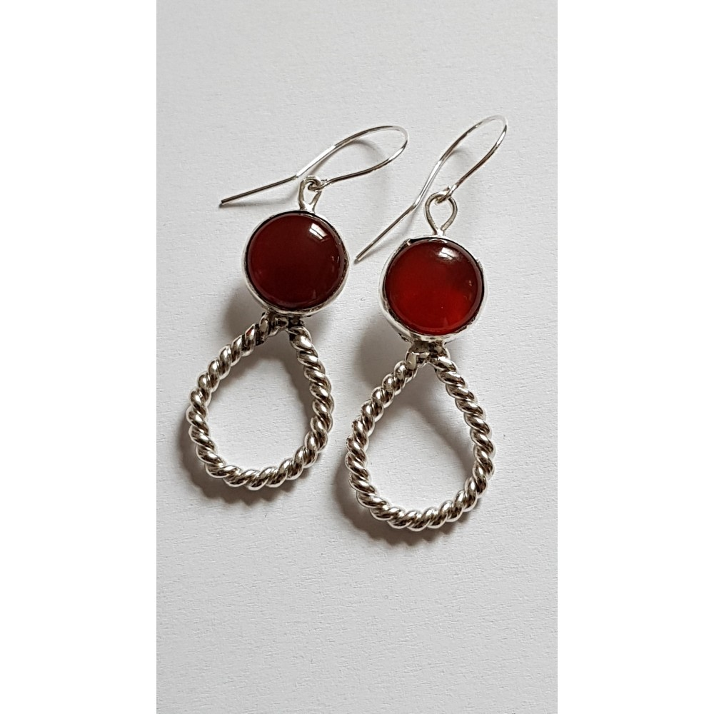 Sterling silver earrings with natural carnelian Picaresque