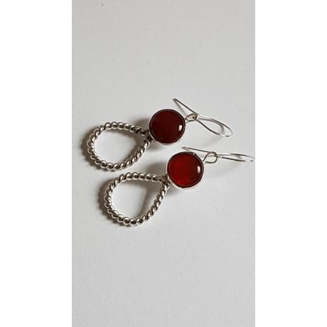 Sterling silver earrings with natural carnelian Picaresque, Bijuterii de argint lucrate manual, handmade