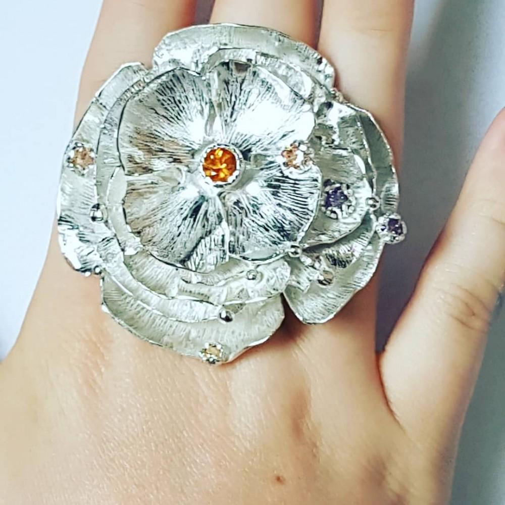 Large Sterling Silver flower ring Summer Tender
