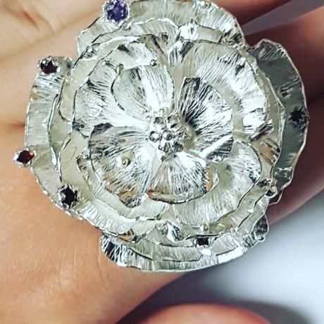 Large Sterling Silver flower ring Summer Tender, Bijuterii de argint lucrate manual, handmade