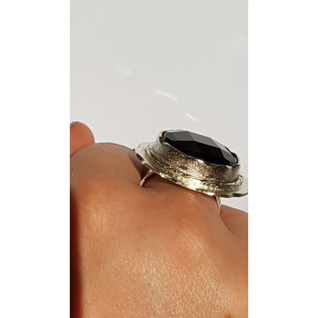 Sterling silver ring with natural onyx stone Magic Flower, Bijuterii de argint lucrate manual, handmade