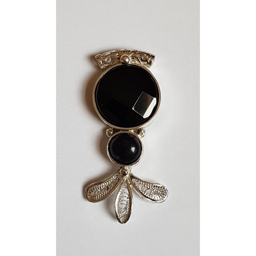 Sterling silver pendant with natural onyx stone Sparkling Sorcery