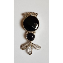 Sterling silver pendant with natural onyx stone Sparkling Sorcery, Bijuterii de argint lucrate manual, handmade
