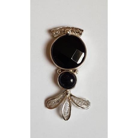 Sterling silver pendant with natural onyx stone Sparkling Sorcery, Bijuterii de argint lucrate manual, handmade