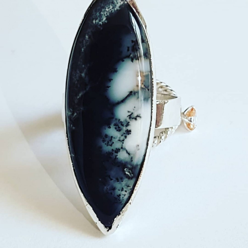Sterling silver Ag925 ring with Nature 'Freckles natural dendritic agate
