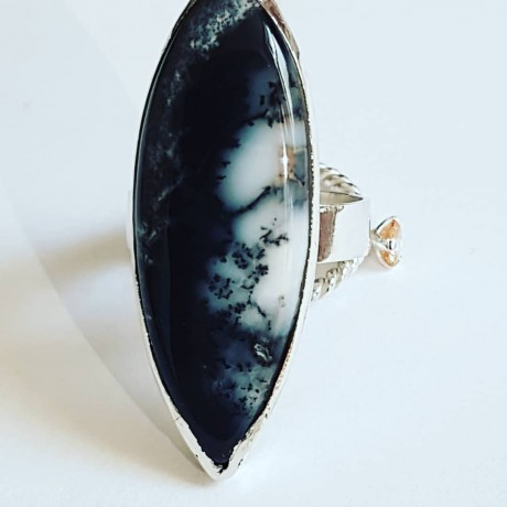 Sterling silver Ag925 ring with Nature 'Freckles natural dendritic agate, Bijuterii de argint lucrate manual, handmade
