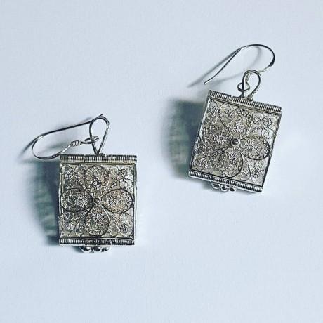 Sterling silver earrings Minute Crazer, Bijuterii de argint lucrate manual, handmade