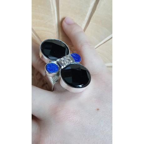 Sterling silver ring with natural onyx and lapislazuli stones Boundless Summer dreaming, Bijuterii de argint lucrate manual, handmade