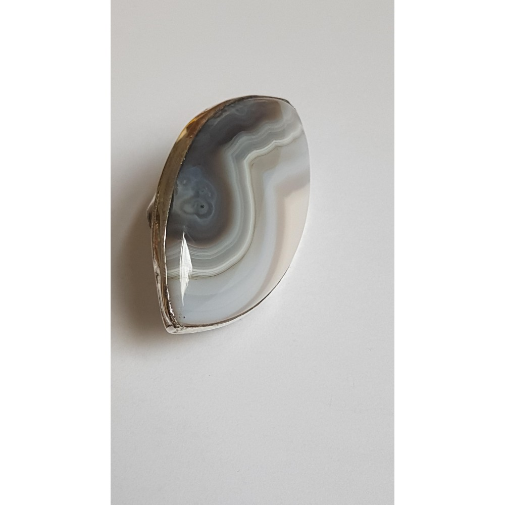 Large Sterling Silver ring with natural agate stone Waves & Grace