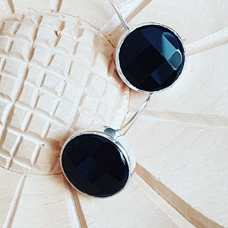 Sterling silver earrings with natural onyx stones Blissful Blacks, Bijuterii de argint lucrate manual, handmade