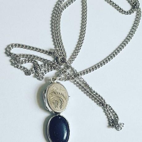 Silver long Ag925 pendant with black sunstone Summer Traps, Bijuterii de argint lucrate manual, handmade