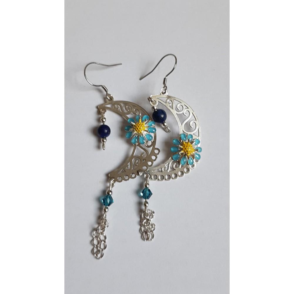 Sterling silver earrings Flower Moonic