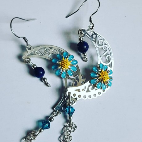 Sterling silver earrings Flower Moonic, Bijuterii de argint lucrate manual, handmade