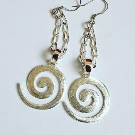 Sterling silver earrings Summer Coils, Bijuterii de argint lucrate manual, handmade