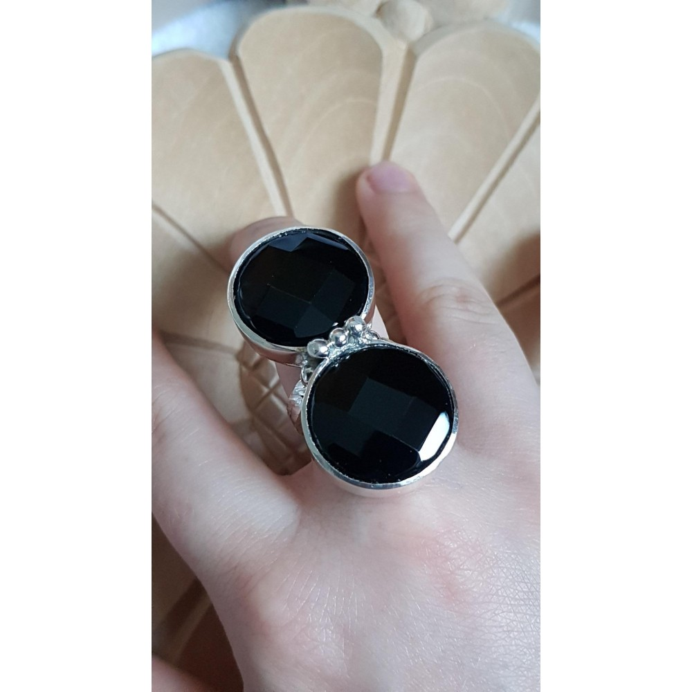 Sterling silver ring with natural onyx stone Double Dreaming