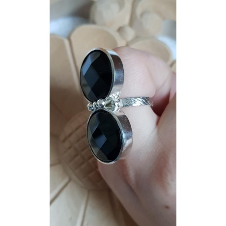 Sterling silver ring with natural onyx stone Double Dreaming, Bijuterii de argint lucrate manual, handmade